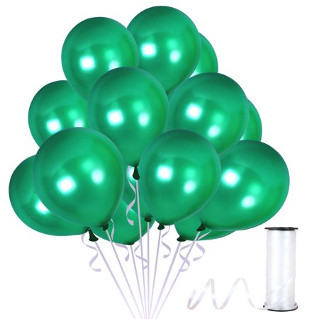 Emerald Green Latex Balloons with 65 Yards Crimped Curling Ribbon Pieces Set Thick Party Decorations For Birthdays, Anniversaries and Weddings by Treasures Gifted