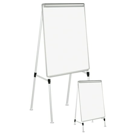 "Universal Adjustable Whiteboard Easel, 29"" x 41"", White/Silver"