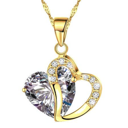 KATGI Fashion Austrian Gold Plated Grey Crystal Heart Shape Pendant Necklace, 18