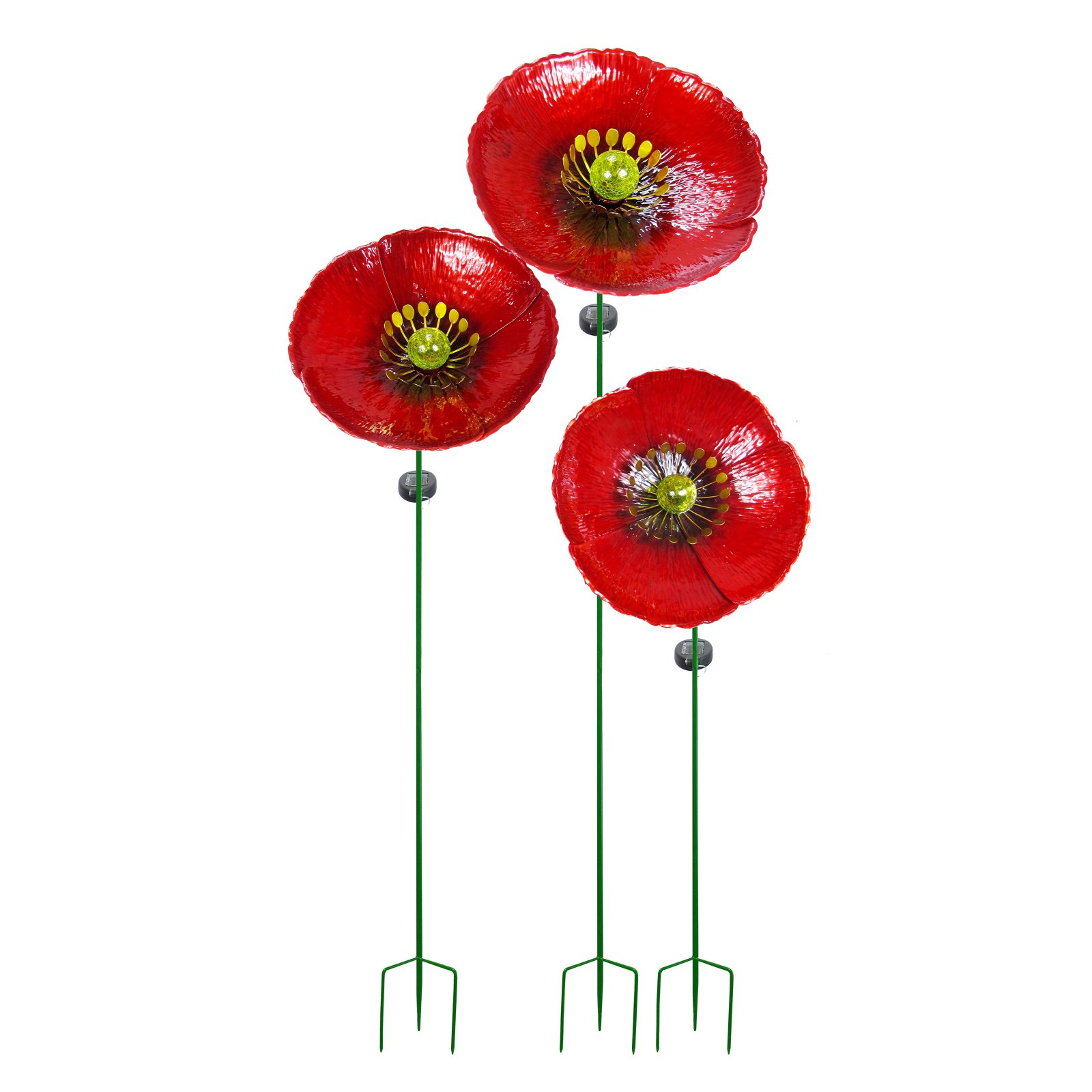 Continental Art Center Metal Poppy Flower Solar Garden Stake - Set of 3