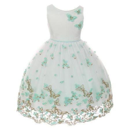 Kids Dream Girls Mint Metallic Butterfly Flower Easter Dress - Girls Butterfly Dress
