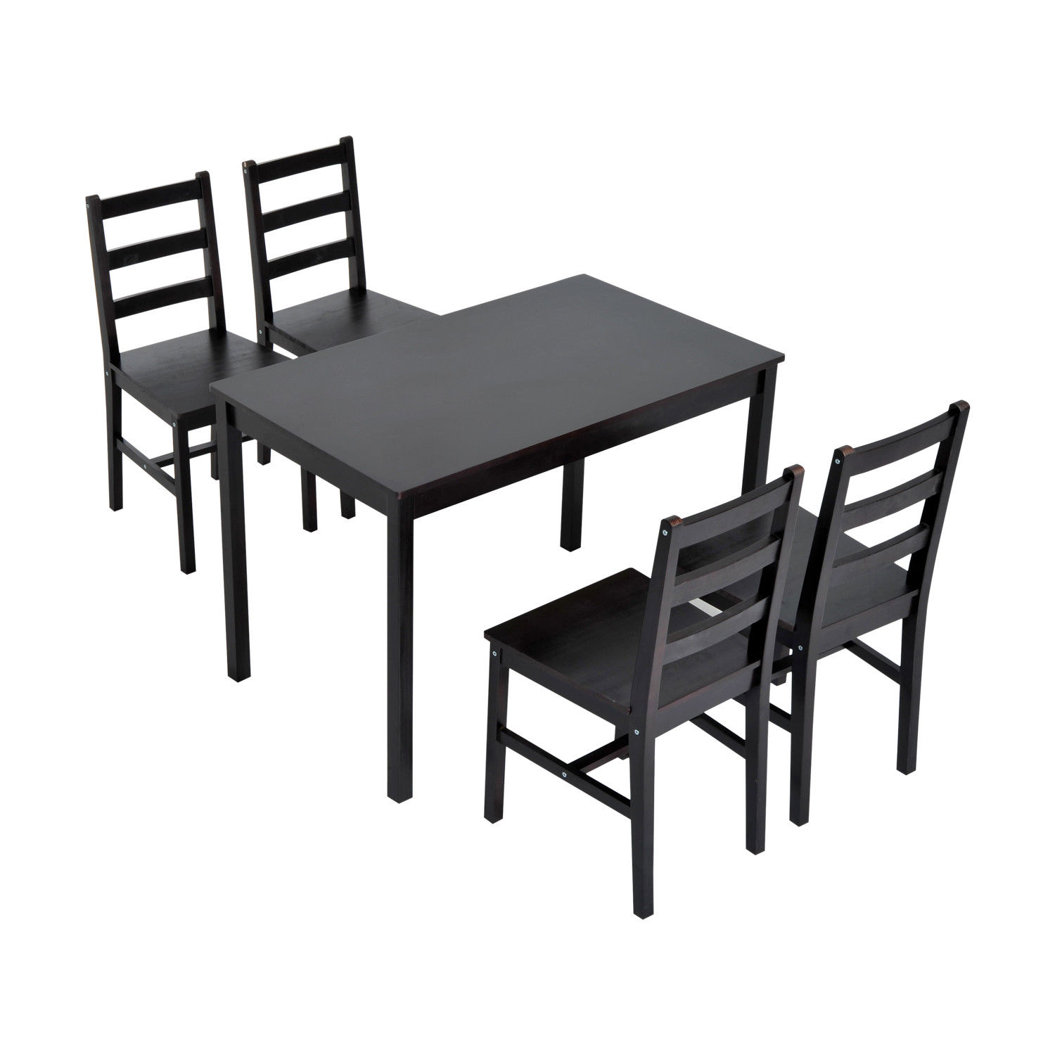 HomCom 5 Piece Solid Pine Wood Table and Chairs Dining Set - Brown