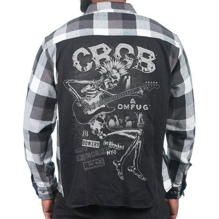 JACK OF ALL TRADES C.B.G.B. Skeleton Guitar Vintage Fit Rocker Shirt Men   Black/White - Guitar Skeleton