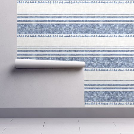 Removable Water-Activated Wallpaper Chambray Stripes Blue Tassel Stripe French (Tassel Wallpaper)