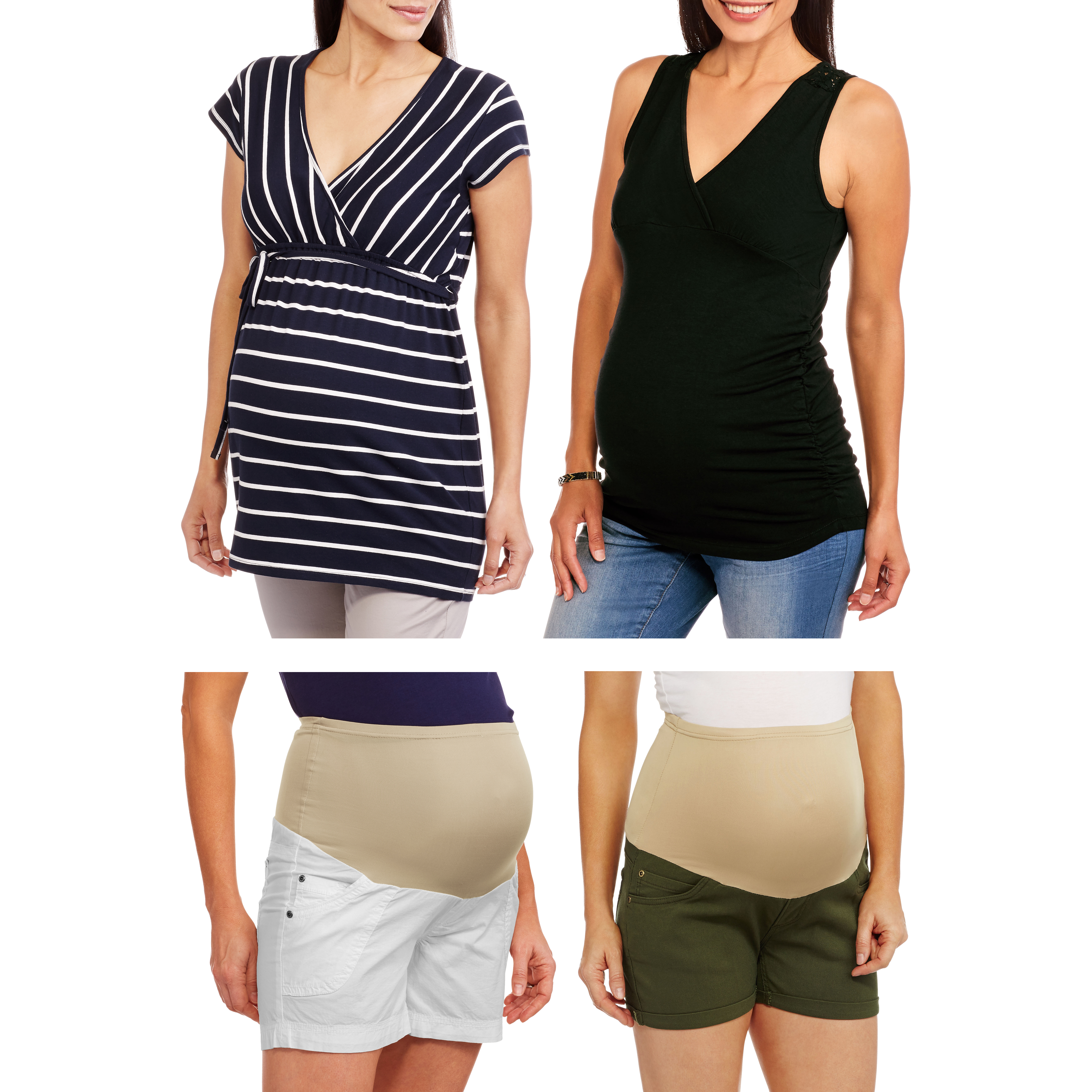 Oh! Mamma Maternity Surplice Top and Full Panel Woven Shorts Bundle - Your Choice!