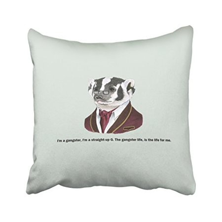 WinHome Skunk In Suit And Glasses Pillow Cover With Hidden Zipper Decor Cushion Two Sides 20x20 inches