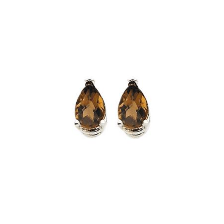 14K White Gold Simple Teardrop Smoky Quartz Stud Earrings