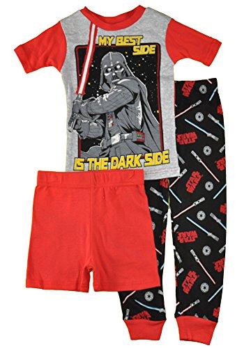 Star Wars Little/Big Boys' My Best Side Is The Dark Side Three-Piece Snug Fit Pajama Set (10)