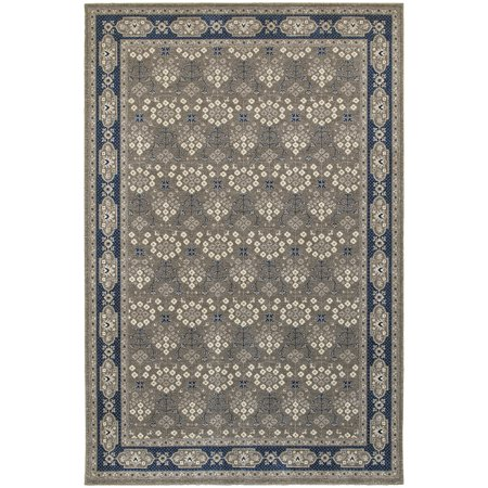Moretti Vert Area Rugs - 119U3 Traditional Oriental Grey Dots Circles Vines Lines (Vine Dot)