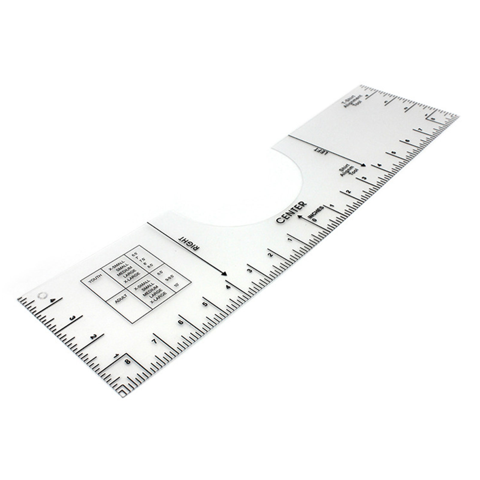 T-shirt Ruler,Round Neck Collar Center Alignment Help DIY Tailoring Design Transparent PVC Printed Scales T-shirt Tool Ruler for Your Heat Press Screen Printing Machine