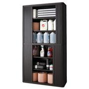 """Paperflow easyOffice Storage Cabinet, 80"""" Tall with Four Shelves, Black"""