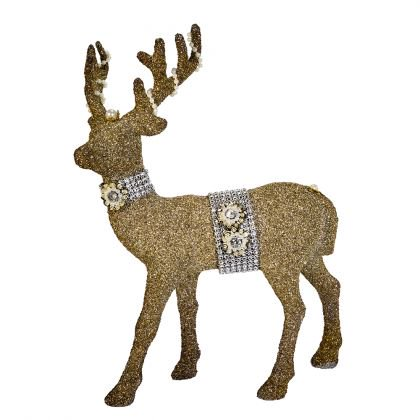 Kurt Adler 12.5-Inch Vintage Glamour Glitter Deer - Deer Tabletop