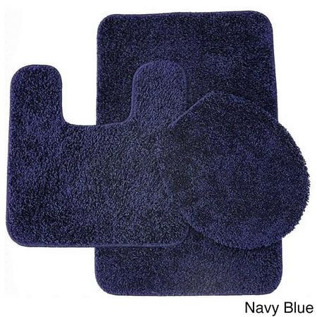 frieze 3 piece bathroom rug set navy blue. Black Bedroom Furniture Sets. Home Design Ideas