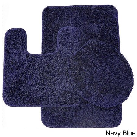 Frieze 3 Piece Bathroom Rug Set Navy Blue
