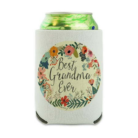 Best Grandma Ever Floral Can Cooler - Drink Sleeve Hugger Collapsible Insulator - Beverage Insulated