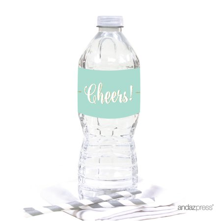 - Signature Light Aqua, White, Gold Glittering Party, Water Bottle Labels Stickers, Cheers! 20-Pack