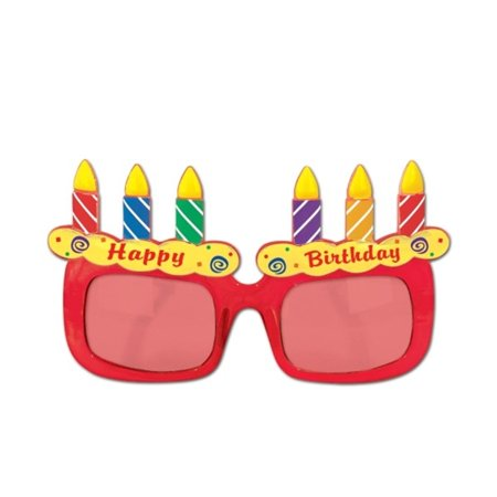 Pack of 6 Multi-Colored Birthday Cakes Fanci-Frame Eyeglass Party Favor Costume Accessories (Birthday Cake Costume)