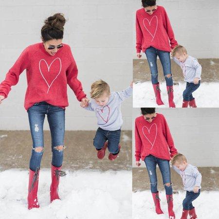 Hot Family Clothes Women Mother Baby Boy Kid Hoodies Long Sleeve Shirt Sweats Sweatshirt Tops Mom Kids Hoodie