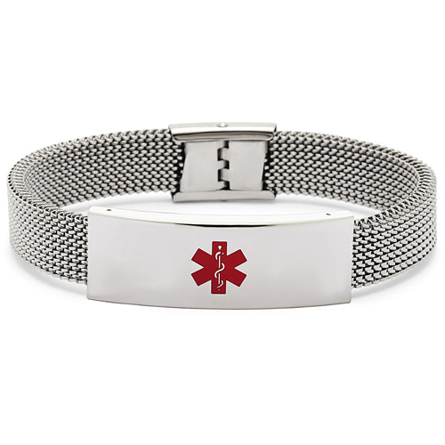 Stainless-Steel Medical Alert ID Bracelet with Mesh Band, Silver