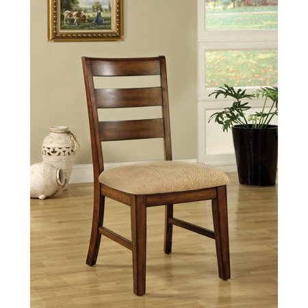 Furniture of America Loeis Contemporary Ladder Back Dining Chair, Antique Oak, 2pk