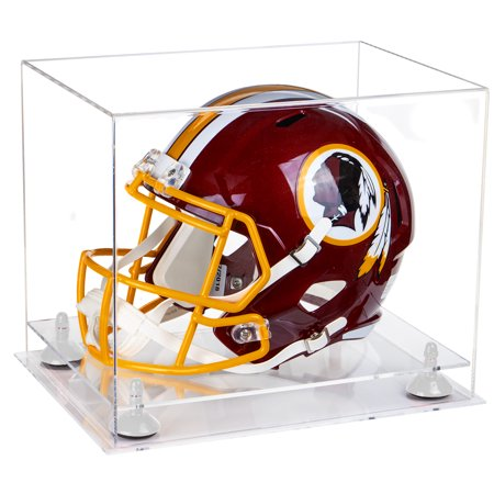 Deluxe Clear Acrylic Football Helmet Display Case with White Risers and Clear Base (A002-WR) ()