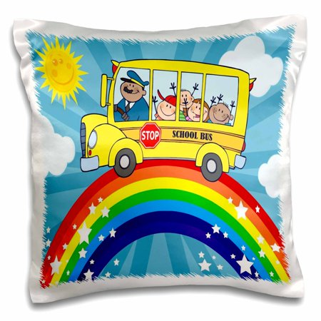 3dRose School bus rainbow art cute bus riding atop a rainbow in the sunshine - Pillow Case, 16 by 16-inch for $<!---->