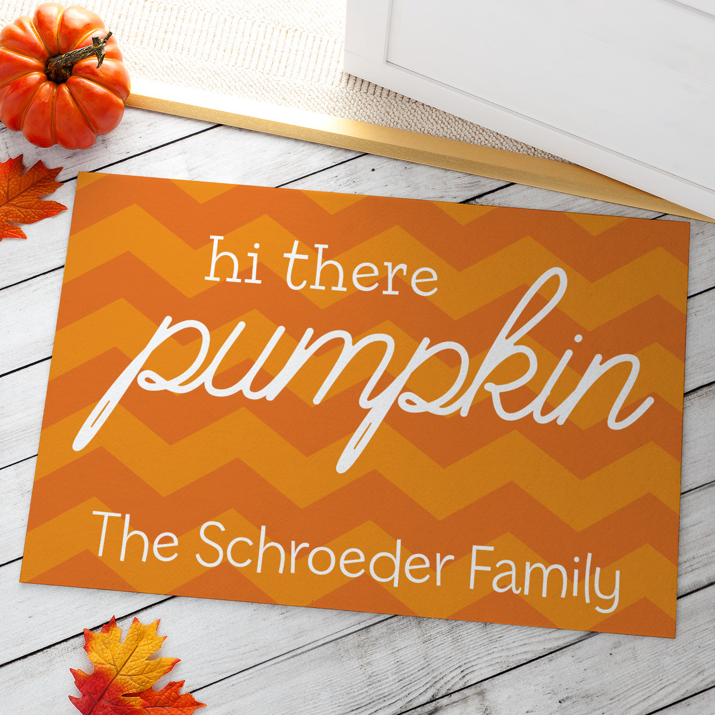 Hi There Pumpkin Personalized Doormat