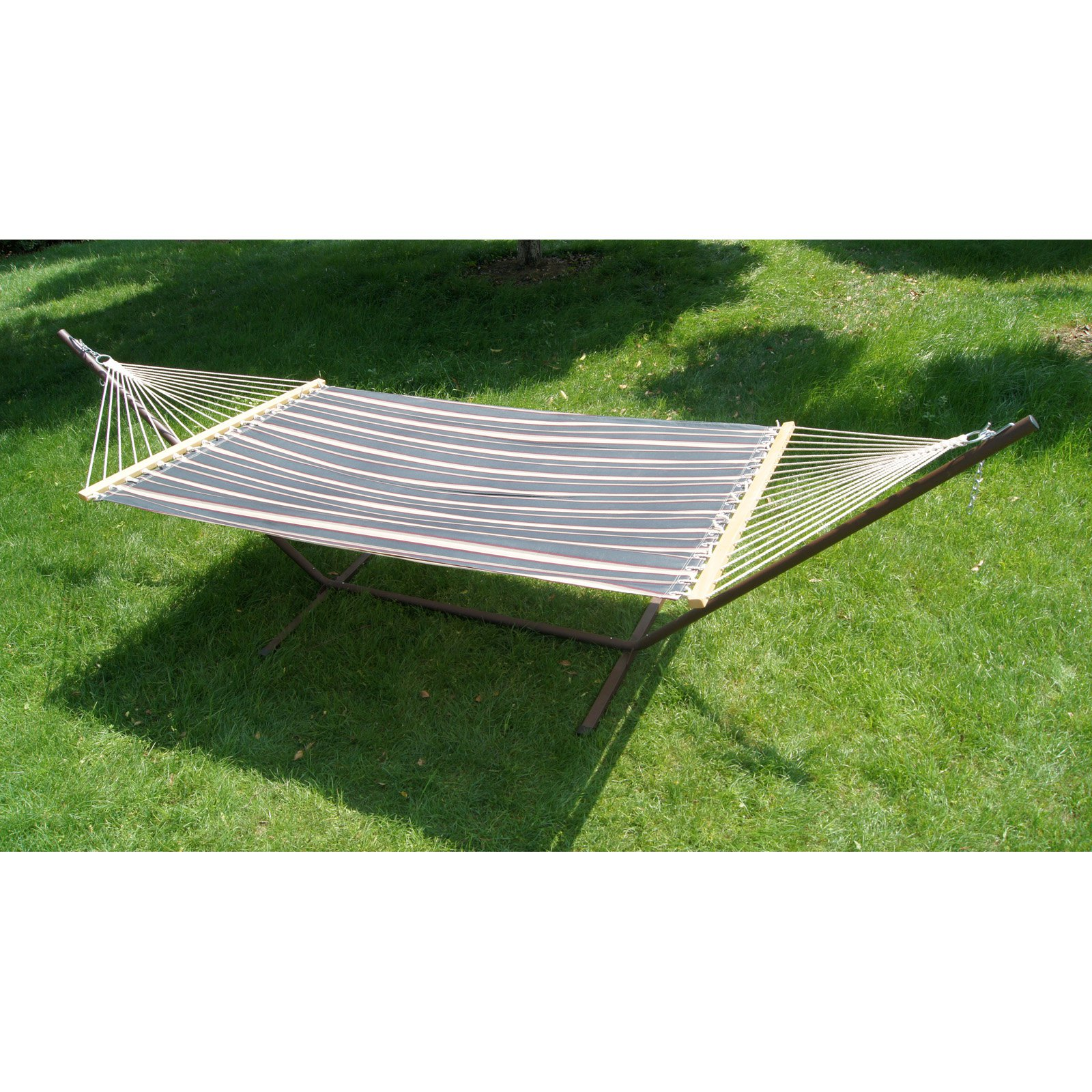 11 ft. Fern Stripe Fabric Double Hammock and Steel Stand Set