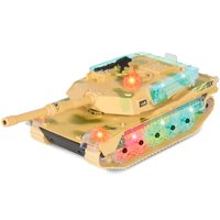 Best Choice Products Kids Military Army Tank Toy w/ Flashing Lights and Sound, Bump and Go Action - Beige