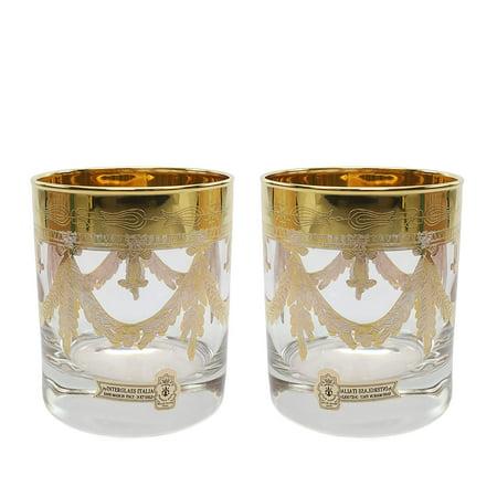 Interglass Italy 2-pc Luxury Crystal DOF Glasses, Vintage Design, 24K (Italy Design Glasses)
