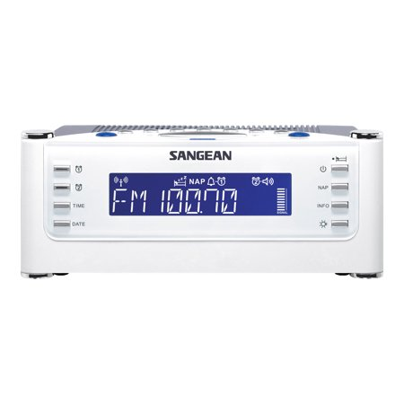 Sangean All in One Weather Atomic AM/FM Dual Alarm Clock Radio with Large Easy to Read Backlit LCD Display