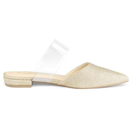 394604f743b Women s Pointed Toe Glitter Clear Strap Block Heel Mules Gold US 9 UK 7  ...