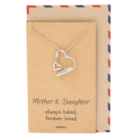 - Mother Daughter Necklace, Mother Daughter Jewelry, Always Linked Engraved Heart Necklace, 16 inches to 18 inches, Silver Tone