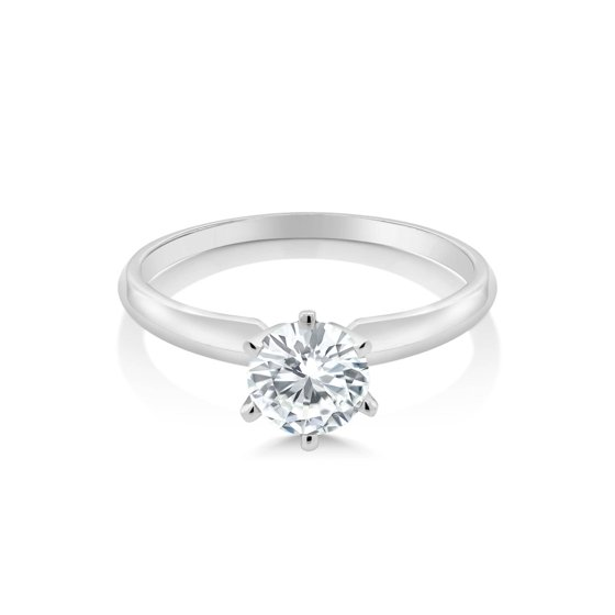 Forever Classic 0 80cttw DEW Created Moissanite 14K White Gold Solitaire  Ring