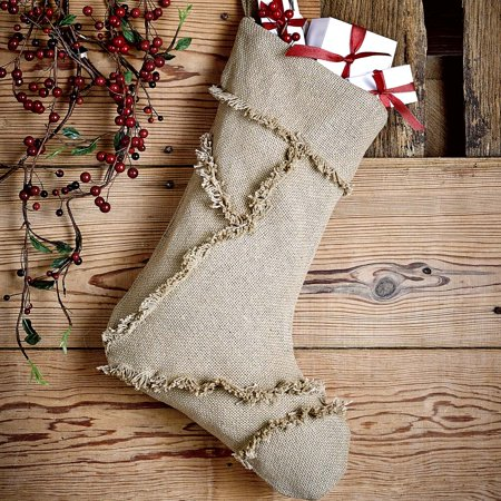 Natural Tan Farmhouse Christmas Decor Burlap Natural Fabric Loop Cotton Reverse Seams Cotton Burlap Solid Color (Football Christmas Stocking)