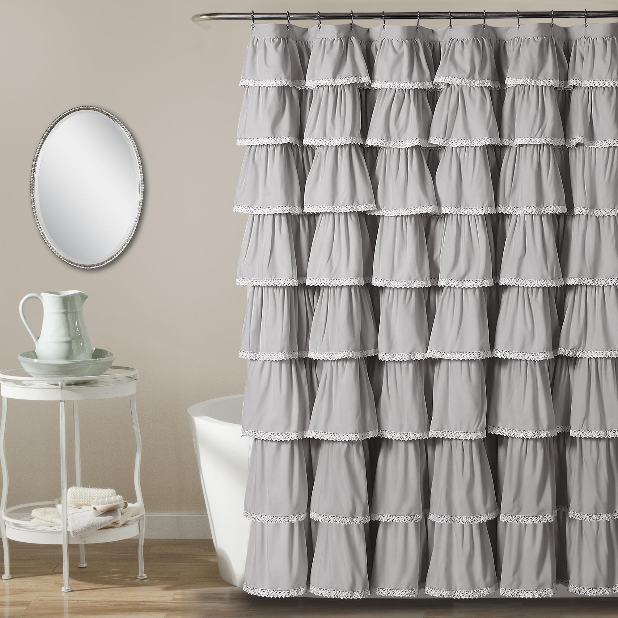 Ruffle Flower Shower Curtain White 72x72