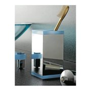 Toscanaluce by Nameeks Eden Free Standing Square Brass/Plexiglass Toothbrush Holder