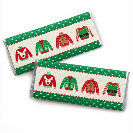 Ugly Sweater - Candy Bar Wrapper Holiday & Christmas Party Favors - Set of 24 (Ugly Christmas Sweater Party Invitations)