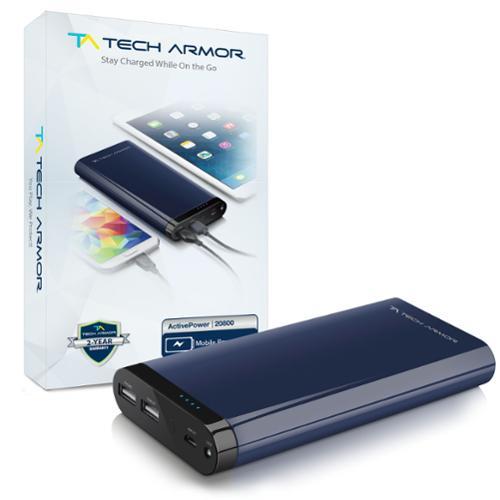 Tech Armor- ActivePower 20800mAh PowerBank External Battery Portable Dual USB Charger Power Bank - Fast Charging, High Capacity, Ultra Compact