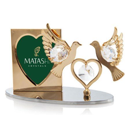 Matashi Crystal 2 Piece Crystal Decorated Double Dove Figurine and Picture Frame Set ()