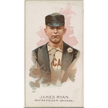 James Ryan Baseball Player Center Fielder Chicago From Worlds Champions Series 2  N29  For Allen   Ginter Cigarettes Poster Print  18 X 24