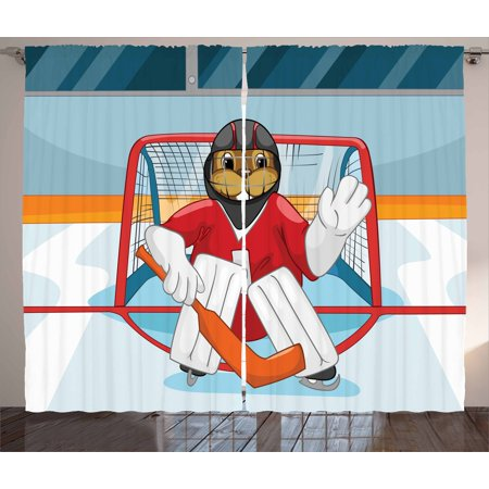 Hockey Curtains 2 Panels Set, Cartoon Style Beaver Plays as a Goalkeeper Fun Activity for Kids Theme Animal Mascot, Window Drapes for Living Room Bedroom, 108W X 84L Inches, Multicolor, - Beaver Mascots