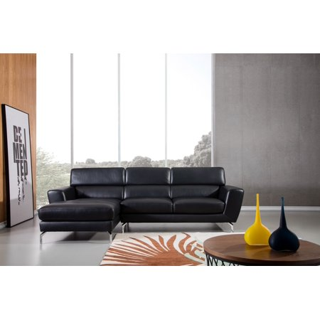 Greatime S2203 Top grain genuine Leather Sectional Sofa, Black, Left Facing Chaise