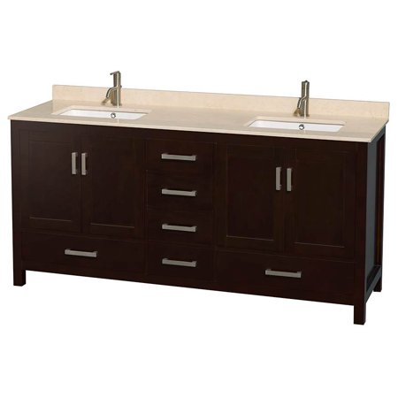 Wyndham Collection Sheffield 72 Inch Double Bathroom Vanity In Espresso Ivory Marble Countertop