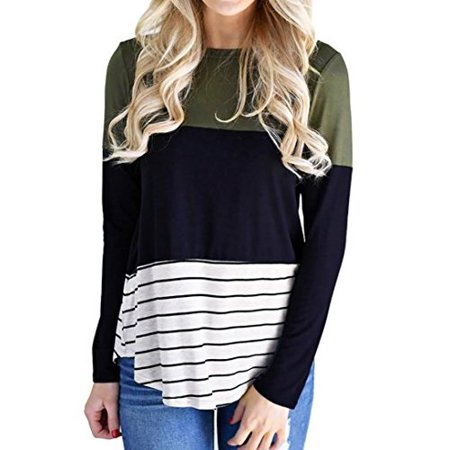 ccb4fb00d270ca Mr.Macy - Mr.Macy Women Casual Stripe Color Block Long Sleeve O Neck Tops  Blouse XL, Multicolor - Walmart.com