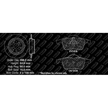 Max Brakes Rear Elite Brake Kit [ E-Coated Slotted Drilled Rotors + Metallic Pads ] TA020782 | Fits: 2002 02 Volvo V70 w/ Rear Solid Rotors - image 7 de 8