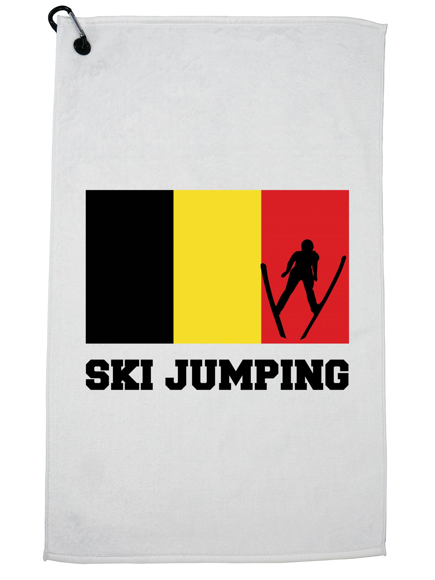 Belgium Olympic Ski Jumping Flag Silhouette Golf Towel with Carabiner Clip by Hollywood Thread