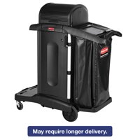 Rubbermaid Commercial Executive High Security Janitorial Cleaning Cart, 23-1 10 x 39-3 5 x 27-1 2, Blk by RUBBERMAID COMMERCIAL PROD.