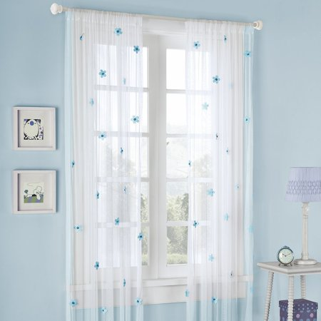 Mi Zone Lily Window Curtain White 63 Panel, A playful special sheer, with silk cut flowers that are attached to this net sheer. The airbrushed flowers in.., By