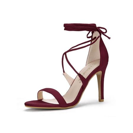 Unique Bargains Women's Stiletto High Heel Lace-Up Sandals Burgundy (Size 7) - image 1 de 1